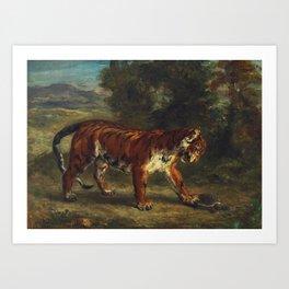 "Eugène Delacroix ""Tigre jouant avec une tortue"" Art Print"