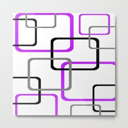 Geometric Rounded Rectangles Collage Purple Metal Print