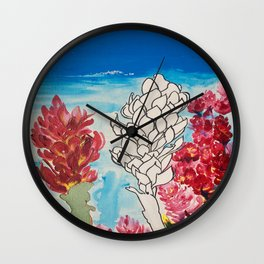 Alpinia purpurata – Red Ginger Flower Wall Clock