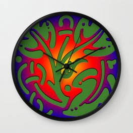 Leaf of tree on colored background: Greenpeace Wall Clock