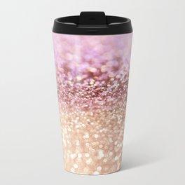 Mermaid Rose Gold Blush Glitter Metal Travel Mug