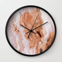Rose Gold Sparkle Glitter Marble on Cream Pattern Wall Clock