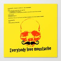 moustache Canvas Prints featuring Moustache by morganPASLIER