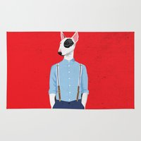 bull terrier Area & Throw Rugs featuring Skinhead Bull Terrier by drawgood