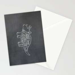 Triceratops Dinosaur (A.K.A Three Horn Face) Butcher Meat Diagram Stationery Cards