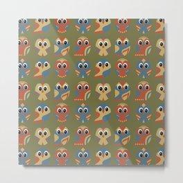 Owl Pattern on Green Metal Print