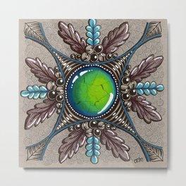 Ornate Turquoise Metal Print