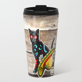 Gato en un Sombrero - Day of the Dead Sugar Skull Cat - Dia de los Muertos Kitty Travel Mug