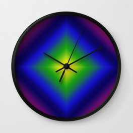 Rainbow Gradient Diamond Geometric Wall Clock