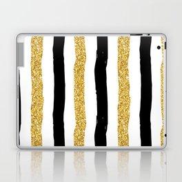 Black and Gold Glitter Brushstroke Stripes Laptop & iPad Skin