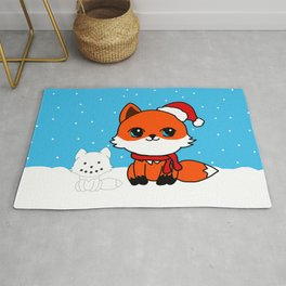 A Fox in the Snow Rug