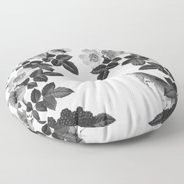 Birds and the Bees Black and White Floor Pillow