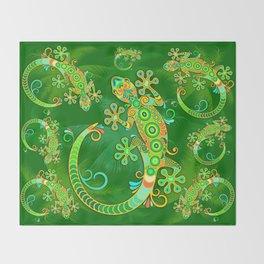 Gecko Lizard Colorful Tattoo Style Throw Blanket