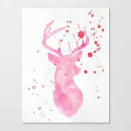Deer in pink Canvas Print