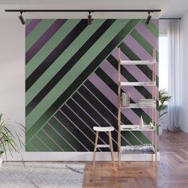 Diagonal Green and Violet Wall Mural
