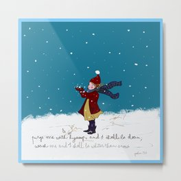 Snow day with bible verse Metal Print