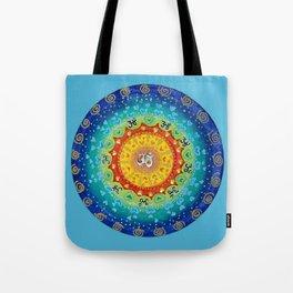 Cosmic Mandala Teal Tote Bag