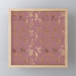 Mauve pink faux gold wildflowers illustration Framed Mini Art Print