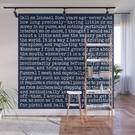 Moby Dick Opening Paragraph in White and Nautical Navy Blue Literary Typography Wall Mural