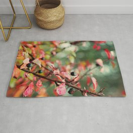 Red and Teal Leaves and Berries in Fall Colors Rug