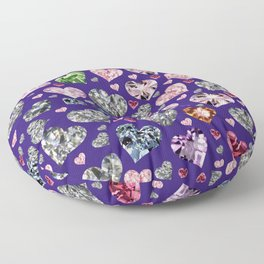 Heart Diamonds are Forever Love Violet Floor Pillow