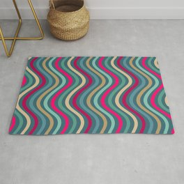 Modern Stripes Pattern of Jewel Tones Wavy Lines in Red Teal Turquoise Gold Rug