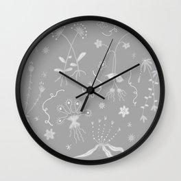 Grey Floral Pattern Wall Clock