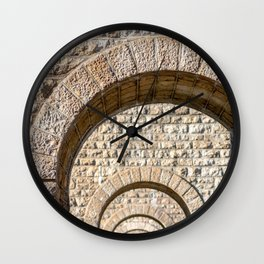 Stone arch of French bridge in Rhone-Alpes Wall Clock