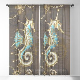 Wooden Background with Mechanical Seahorse ( Steampunk ) Sheer Curtain