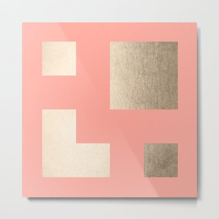Simply Geometric White Gold Sands on Salmon Pink Metal Print