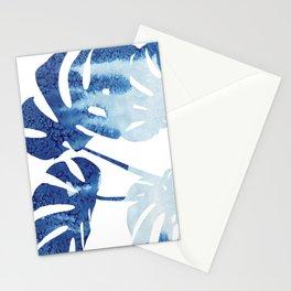 Navy Blue Tropical Leaf Stationery Cards