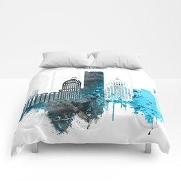 Detroit Monochrome Blue Skyline Comforters