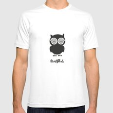 Dark Spirals Collection: The Owl SMALL White Mens Fitted Tee