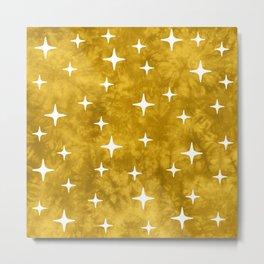 Mid Century Modern Star Pattern 222 Yellow Metal Print