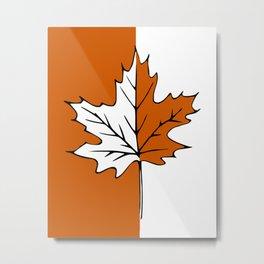 Maple Leaf (orange + white) Metal Print