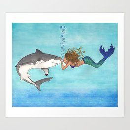 The Shark and the Mermaid Art Print