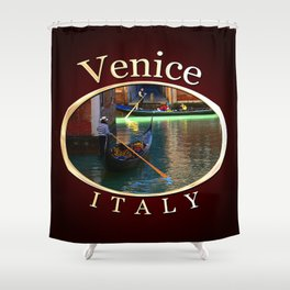 Gondoliers On A Venetian Canal Shower Curtain