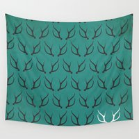 antlers Wall Tapestries featuring Antlers by hannahclairehughes