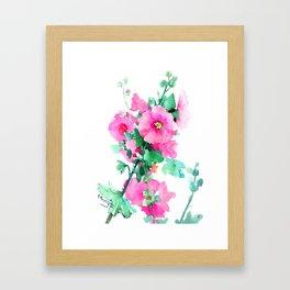 Hollyhock Pink Flowers vintage floral design Framed Art Print