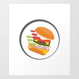 Awesome Burger falling down - I love Burger Art Print