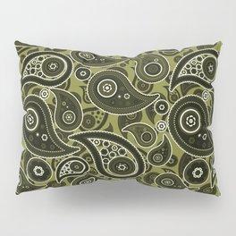 Olive Green Paisley Pattern Pillow Sham
