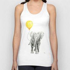 Elephant Watercolor Yellow Balloon Whimsical Baby Animals Unisex Tank Top