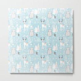 From Mice Bears Deers And Christmas-Cute teal X-Mas Pattern Metal Print