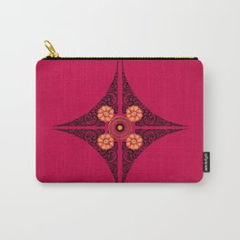 Pata Patterns in Black & Yellow on Pink Carry-All Pouch