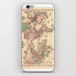 1861 World Map - Johnson's World on Mercators Projection iPhone Skin
