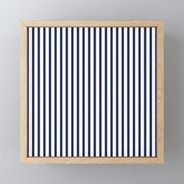 Navy Blue Vertical Stripes Framed Mini Art Print