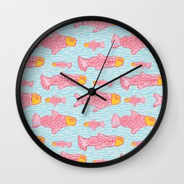 Pastel Shoal of Fish, Seamless Seaweed Animal Vector Pattern Background Wall Clock