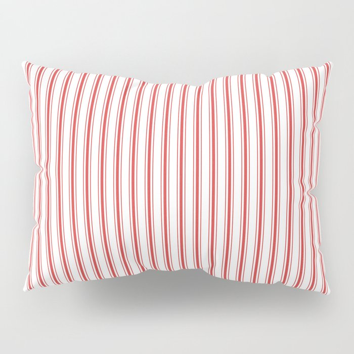 Mattress Ticking Narrow Striped Pattern in Red and White Pillow Sham