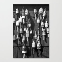 Black And White of Maine Fishing Buoys Canvas Print