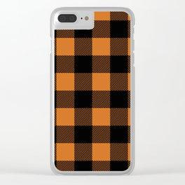 Orange and Black Buffalo Plaid Clear iPhone Case
